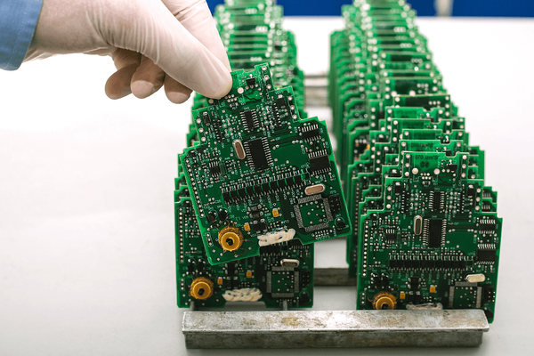 Green application chips lined in a row