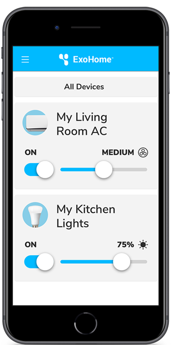 ExoHome lights settings shown on mobile phone