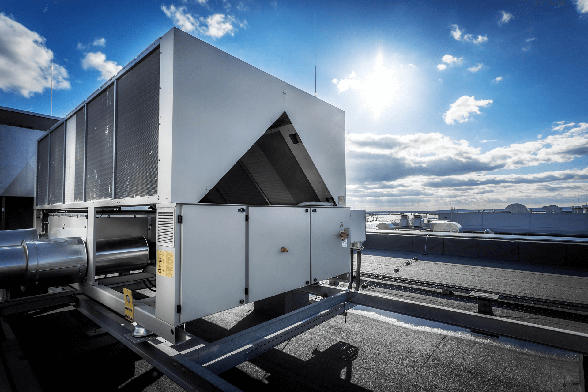 Commercial AC unit on top of a building
