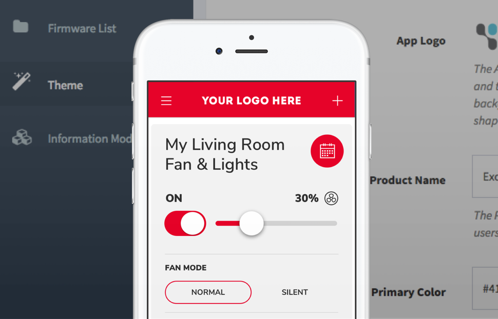 customizable end-user interface shown on mobile phone